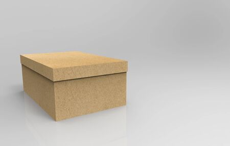 3d rendering. Brown paper empty box on gray background. 写真素材