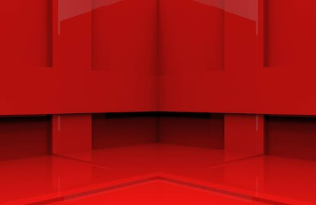 3d rendering. modern design red panel box corner wall background.