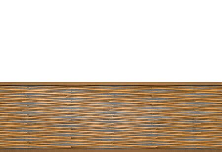 3d rendering. modern strip crossing wood panel design pattern on white wall background.