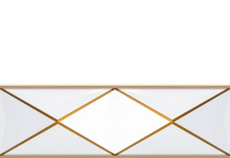 3d rendering. modern luxurious triangle grid with golden edge line pattern design on white wall background.