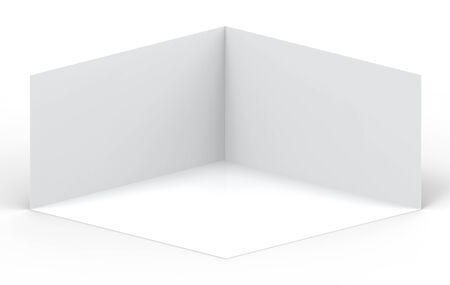 3d rendering. Empty gray cube boxes corner room wall with clipping path on white background. Фото со стока