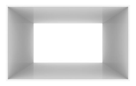3d rendering. Simple gray cube box tunnel hole on white background.