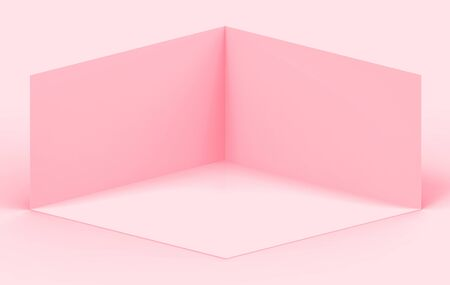 3d rendering. Sweet soft Pink cube boxes corner room wall background with clipping path. Фото со стока