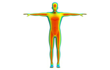 3d rendering. Front side of Human body scan by infrared ray structure measure with clipping path isolated on white background. Archivio Fotografico