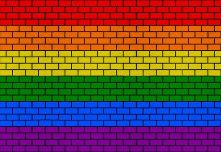 LGBT rainbow flag color brick block stack residential wall texture design background. 스톡 콘텐츠