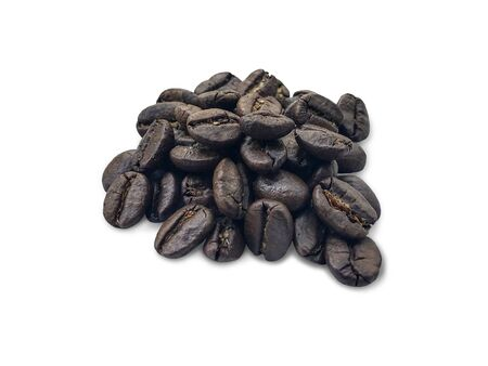 fresh roasted black coffee beans with clipping path isolated on white background.