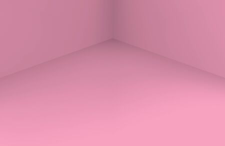 3d rendering. soft sweet pink corner room wall floor background. Фото со стока