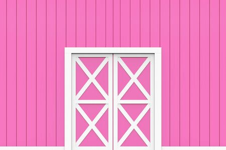 3d rendering. closed white door on sweet soft pink wood panels wall design background. Фото со стока