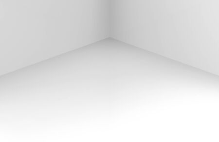 3d rendering. modern simple minimal white corner room box wall desin background. Фото со стока