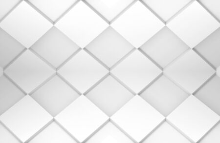 3d rendering. modern minimal style design white grid square tile art pattern texture wall background.