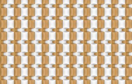 3d rendering. minimal modern wood square grid pattern design tiles wall  background.
