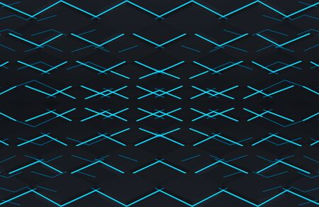 3d rendering. Abstract modern futuristic black square grid plate with blue light design wall floor background. Zdjęcie Seryjne