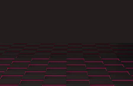 3d rendering. modern dark square grid tiles on light pink floor background.
