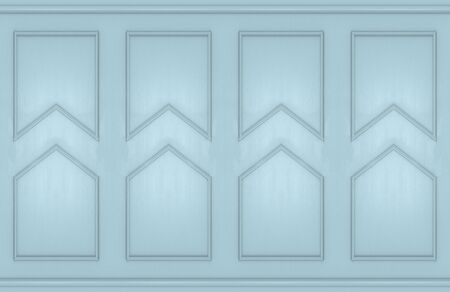 3d rendering. modern light blue square classical shape pattern wall design background.
