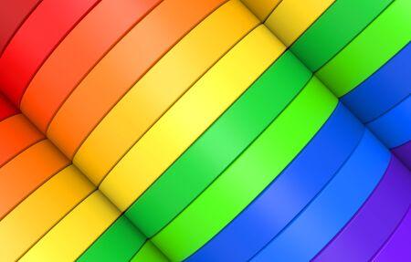 3d rendering. alternate rainbow colorful diagonal curve panel design banner wall background. Banco de Imagens