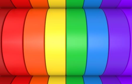 3d rendering. alternate rainbow colorful curve panel design banner wall background.