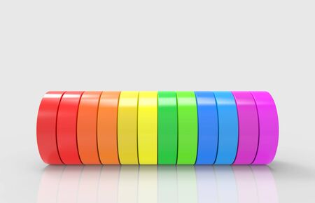 3d rendering. alternate rainbow colorful cylinder pipe on gray backgorund.