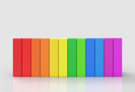3d rendering. alternate rainbow colorful vertical bars on gray backgorund.