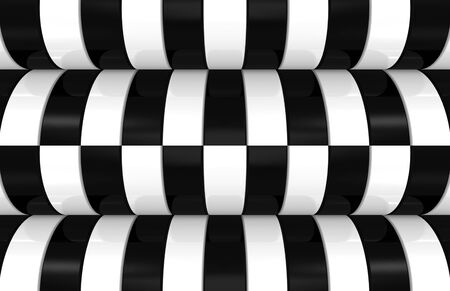 3d rendering. modern alternate black and white curve pattern design wall background.