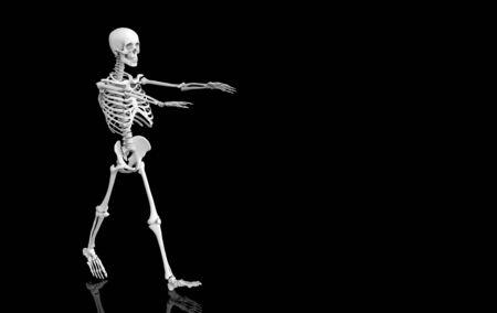 3d rendering. walking Ghost  human skull skeleton bones on black background. Horror Halloween concept.