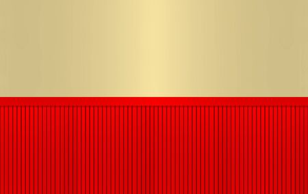 3d rendering. luxurious red parallel pattern panel on golden wall background.