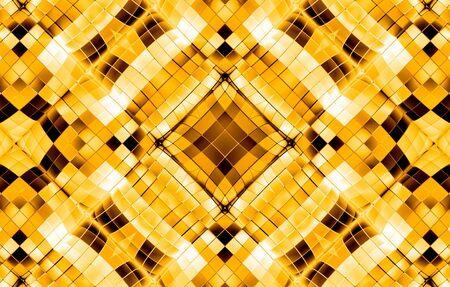 3d rendering. Luxury golden square grid shape tile pattern wall background.