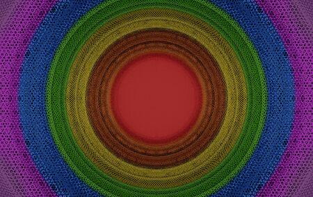 3d rendering. circular rainbow color flag light on hexagon pattern mesh wall background. Zdjęcie Seryjne