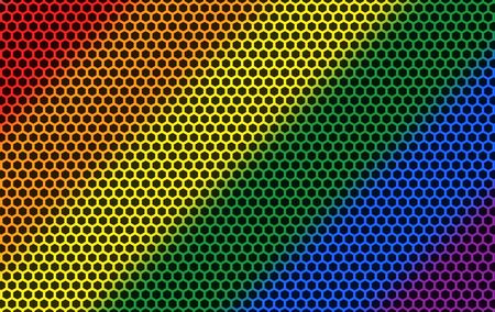 3d rendering. rainbow color flag light on hexagon pattern mesh wall background.