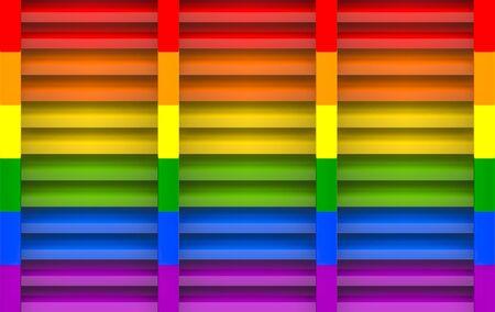3d rendering. rainbow color panel window wall design art background. Banco de Imagens