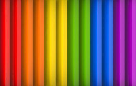 3d rendering. Parallel vertical rainbow panel wall design background.