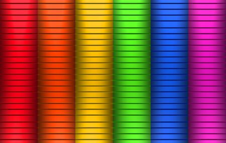 3d rendering. rainbow color Horizontal metal panel parallel wall design background.