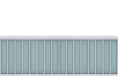 3d rendering. modern blue square pattern window on white facade wall background.