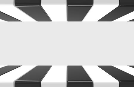 3d rendering. modern alternate black and white pattern design plate on gray wall background.