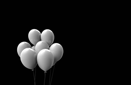3d rendering. Floating white big balloons isolated on copy space black background. Stok Fotoğraf