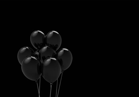 3d rendering. Floating black balloons isolated on black background. Horror halloween object concept Stockfoto