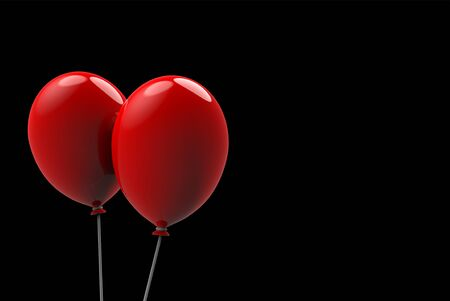 3d rendering. two big floating red balloons on black background. horror Halloween object concept Stockfoto