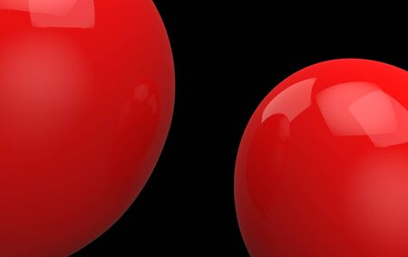 3d rendering. two big red balloons on black background. horror Halloween object concept Stockfoto