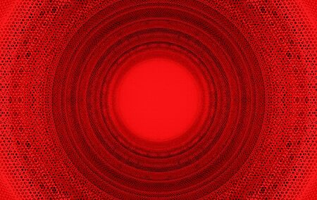 3d rendering. red metal mesh in Circular tunnel design art wall background.