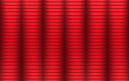 3d rendering. Red curve Horizontal metal panel parallel shutter door wall background.