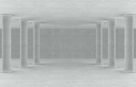 3d rendering. High roman style pole rows in empty cement room background. Фото со стока