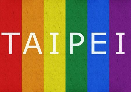 3d rendering. White TAIPEI letter word on Rainbow flag street road background.