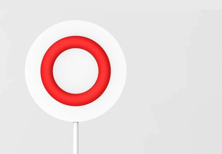 3d rendering. Red right approved sign circle board on gray background. Stockfoto