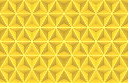 3d rendering. seamless yellow gold tri polygon in hexagon shape pattern design wall art background.