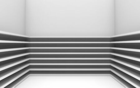 3d rendering. modern parallel gray panels pattern on room corner wall background. Stockfoto