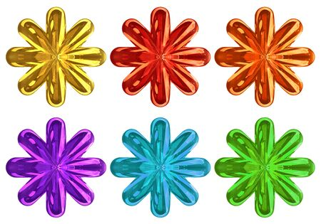 3d rendering. colorful Gloden Six pointed star set collection isolated on white background.