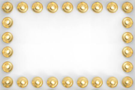 3d rendering. Golden circular button row on white paper board wall background.