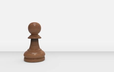 3d rendering. A wood pawn chess on gray background.