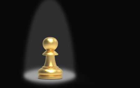 3d rendering. spot light on A golden pawn chess on stage background.