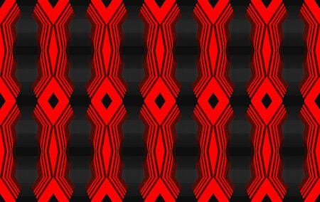 3d rendering. seamless modern red light geometric shape pattern wall background.