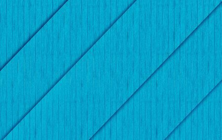 3d rendering. diagonal blue wood panels texture fence wall design background.